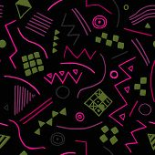 Vector Seamless Texture With Geometrical Shapes. Endless Black Background. Vector Backdrop.