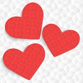 Stylish Red Heart Background. Vector Illustration.