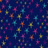 Vector Seamless Pattern With Colorful Stars. Endless Blue Background.