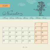 Calendar for November 2014, vector