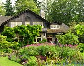 VANCOUVER, CANADA JULY 17: View of the Pavilion in the Garden on July 17, 2014 From the Rose Garden.