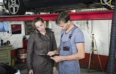 Mechanic with client