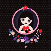 Cute vampire girl halloween illustration cute blossom postcard cover design or poster in vector