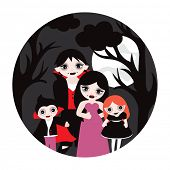 Happy Vampire Family halloween illustration full moon postcard cover design or poster in vector