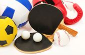 Sports equipment isolated on white
