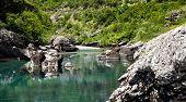 Landscape of transparent mountain stream