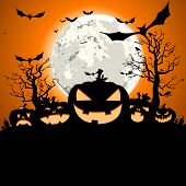 detailed illustration of a happy halloween invitation background, eps10 vector