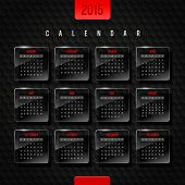 Vector template calendar 2015 - glass frames with month on a black hexagons background