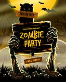 Halloween vector illustration - Dead Mans arms from the ground with invitation to zombie party poster