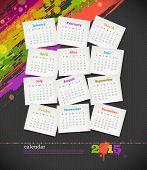 Vector illustration - calendar 2015 with grunge color blots