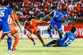 Sisaket Thailand-august 13: Gorka Unda Of Sisaket Fc. (orange) In Action During Thai Premier League