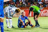 Sisaket Thailand-august 13: Trent Mcclenahan Of Ptt Rayong Fc. (blue) In Action During Thai Premier