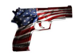 picture of handgun  - Handgun and American flag composite - JPG