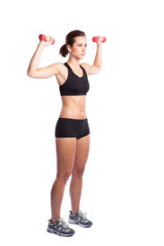 picture of lifting weight  - An isolated shot of a beautiful caucasian woman doing exercise - JPG