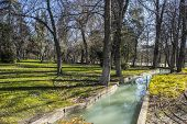 Waterway, Lake in Retiro park, Madrid Spain