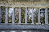 Classic columns gallery, Lake in Retiro park, Madrid Spain