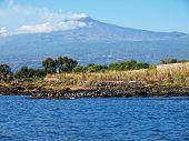 Volcano Etna from sea