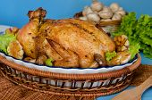 Whole Roasted Chicken Stuffed With Buckwheat And Mushrooms