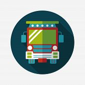 Transportation School Bus Flat Icon With Long Shadow,eps10