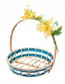 Empty Wicker Basket With Flower On White Background.