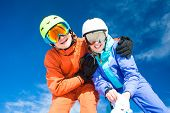 a couple on mountain vacation. Dolomiti Superski, Itlay