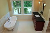 stock photo of wainscoting  - Elegant bathroom with tub and sink - JPG