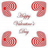 Design Valentines Day Card With Striped Red Hearts
