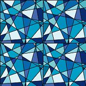 Seamless Background With Blue Mosaic Made Of Geometrical Shapes