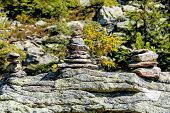 stacked stones, symbol for hiking, marking, orientation