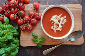 Bowl with tomato soup