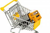 a shopping cart and a truck. invest in new vehicles reduces operating costs.