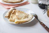 Breakfast With Pancakes, Jam, Honey And Milk