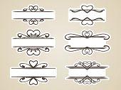 Calligraphic headline frame design element, Vector set with heart