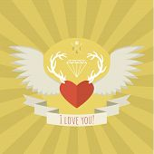 Heart with deer antlers and wings on yellow.