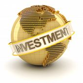Golden globe with investment text