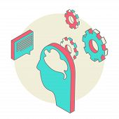 Human head idea - isometric design style for business presentation, brochure, web site and other pro