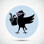 Black Bird with 3D Glasses and Cup of Worms