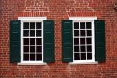 stock photo of 1700s  - Windows on a building built in the late 1700s - JPG