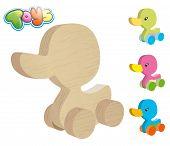 wooden duck on wheels