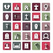 Colored Funeral Icon Set
