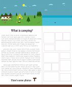 Camping template with text. Outdoors. Summer campsite photos.