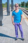 Good looking caucasian male in blue