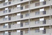 Modern apartment or condominium building exterior close - up