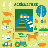 Agriclulture icons and pictures set