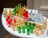 Bottles Of Soft Drink Standing On Counter