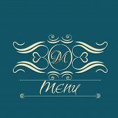 calligraphy monogram floral design, vintage pattern logo