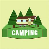 Rv Camping Illustration. Vector