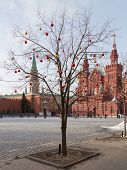 Christmas Balls On Red Square
