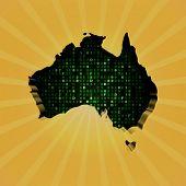 Australia sunburst map with hex code illustration
