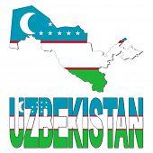 Uzbekistan map flag and text illustration